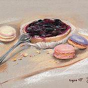 Картины и панно handmade. Livemaster - original item Cake with berries and cookies macarons. Handmade.