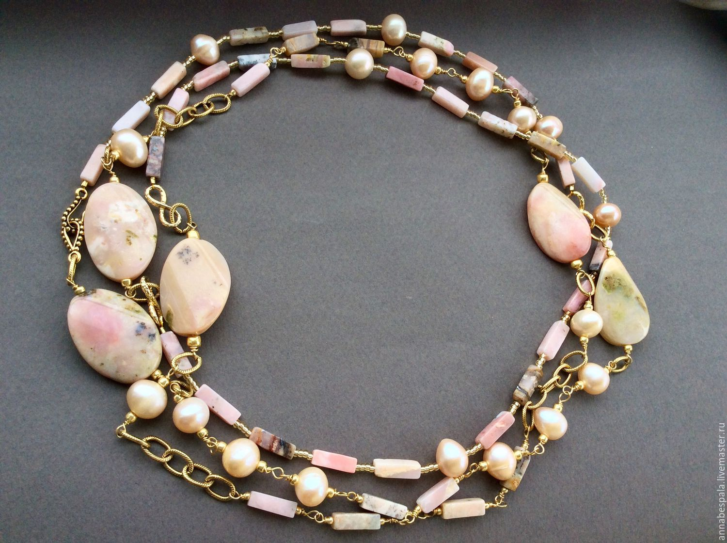 pastel pearls anna pink opal necklace bracelet online shop item chekhonadskaya on
