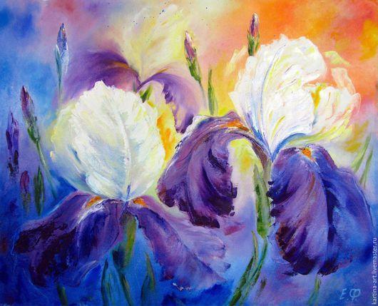 Картины цветов ручной работы. Ярмарка Мастеров - ручная работа. Купить Ирисы. Handmade. Комбинированный, синий, картина, Живопись, красиво