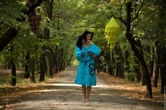 Платья ручной работы. Ярмарка Мастеров - ручная работа. Купить Этническое платье лен Turquoise. Handmade. Платье, фолк платье