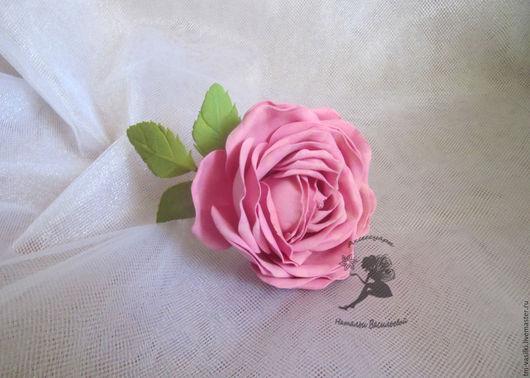 """Заколки ручной работы. Ярмарка Мастеров - ручная работа. Купить Брошь-заколка """"Розовая роза"""". Handmade. Розовый, брошь с розой"""