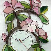 """Для дома и интерьера ручной работы. Ярмарка Мастеров - ручная работа Часы тиффани """"Розовые цветы"""". Handmade."""