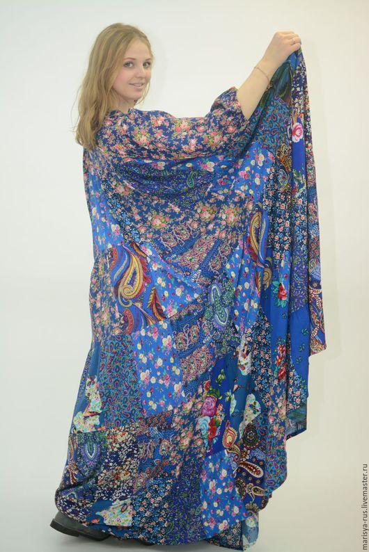 """Платья ручной работы. Ярмарка Мастеров - ручная работа. Купить Лоскутное платье """"Лазурь"""". Handmade. Синий, лоскутное шитье"""