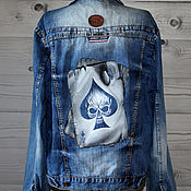 Мужская одежда handmade. Livemaster - original item Denim jacket denim jacket with card and skull pattern hand painted. Handmade.