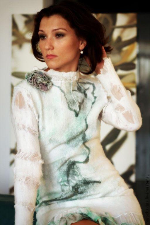 Платья ручной работы. Ярмарка Мастеров - ручная работа. Купить Sakura green платье нуновойлочное. Handmade. Абстрактный, Праздничный наряд