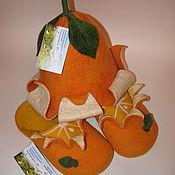 Для дома и интерьера ручной работы. Ярмарка Мастеров - ручная работа Апельсиновая шапочка и тапочки  для бани. Handmade.