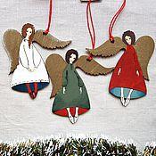 Подарки к праздникам ручной работы. Ярмарка Мастеров - ручная работа Ангелы в новогодних тонах. Handmade.
