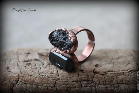 """Кольца ручной работы. Ярмарка Мастеров - ручная работа. Купить Кольцо с тектитом """"Black stone"""". Handmade. Черный, оберег, медь"""