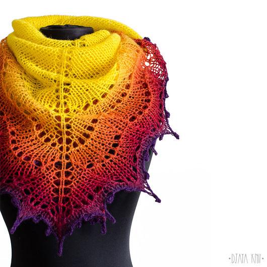 Шали, палантины ручной работы. Ярмарка Мастеров - ручная работа. Купить Шаль Фурия II (желтый с фиолетовым). Handmade.