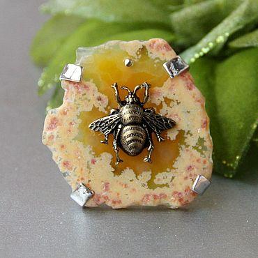 Decorations handmade. Livemaster - original item Agate Bee Ring. Handmade.