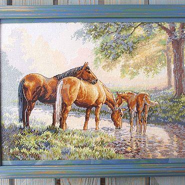 """Картины и панно ручной работы. Ярмарка Мастеров - ручная работа """"Сказки природы""""Вышивка крестиком,картины и панно,природа,лошади. Handmade."""