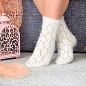 Аксессуары handmade. Livemaster - original item Socks: : Openwork downy socks for women. Handmade.