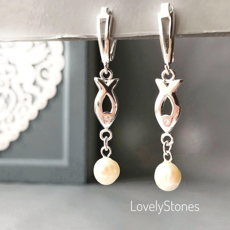 Fish earrings with natural pearls on the locks, Earrings, Yaroslavl,  Фото №1