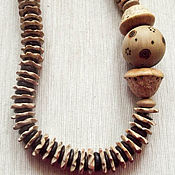 "Украшения handmade. Livemaster - original item Necklace ""Striped"" of coconut and wood. Handmade."