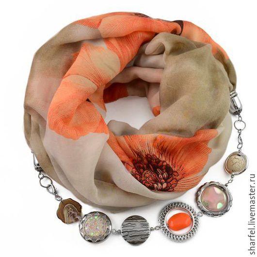 Шарфы и шарфики ручной работы. Ярмарка Мастеров - ручная работа. Купить Хлопковый Шарф ожерелье с бижутерией оранжевый цветок. Handmade.