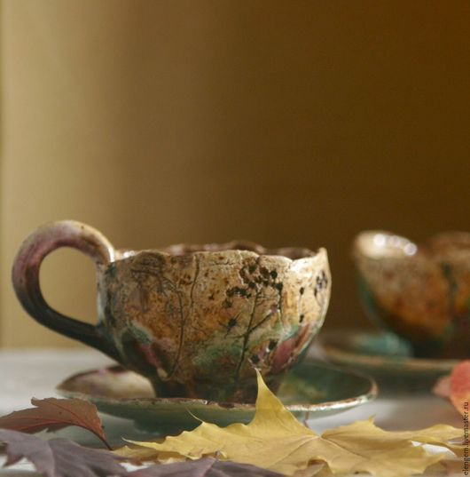 """Кружки и чашки ручной работы. Ярмарка Мастеров - ручная работа. Купить Чайная пара """" Времена года. Осень....."""". Handmade."""