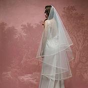 Свадебный салон ручной работы. Ярмарка Мастеров - ручная работа Классическая свадебная фата с вуалью и окантовкой А-1(1.5). Handmade.