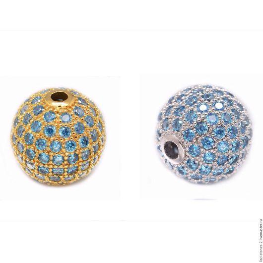 Бусина шар с голубыми кристаллами 8 мм золото и серебро (Milano) Евгения (Lizzi-stones-2)