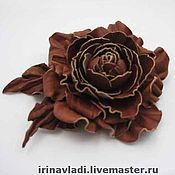 Украшения handmade. Livemaster - original item jewelry leather brooch hairpin flower chocolate dessert.. Handmade.