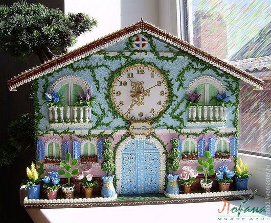 """Часы для дома ручной работы. Ярмарка Мастеров - ручная работа. Купить Настенные часы """"Счастливое время"""". Handmade. Часы, микробисер"""