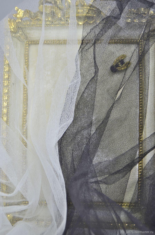 Вышивка ручной работы. Ярмарка Мастеров - ручная работа. Купить Сетка шелковая, Франция. Handmade. Сетка, черный, айвори