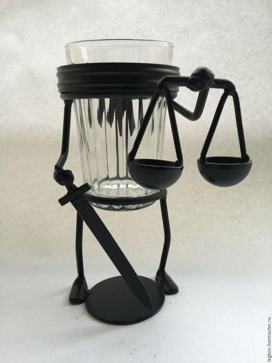 """Бокалы, стаканы ручной работы. Ярмарка Мастеров - ручная работа. Купить Подставка под стакан """"Фемида"""". Handmade. Черный, судья"""