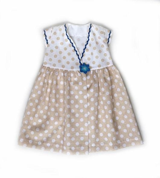 Летнее платье для девочки из льна в горошек. Нарядное платье для девочки. Bumberiny
