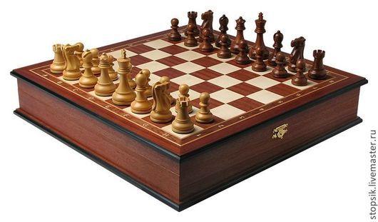 Настольные игры ручной работы. Ярмарка Мастеров - ручная работа. Купить Шахматы-ларец Турнирный (махагон, клетка 4см) (26456). Handmade.