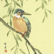 Картины ручной работы. Ярмарка Мастеров - ручная работа Картина Зимородок, суми-э 24x27 весна тушь птица Япония оранжевый ива. Handmade.