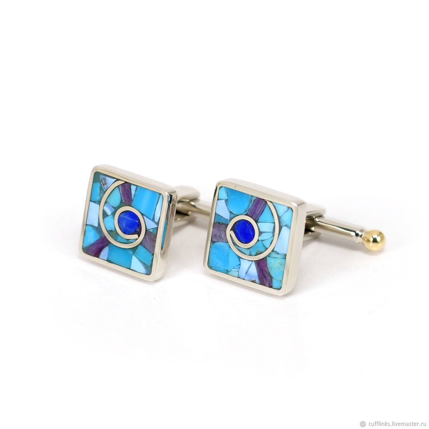 CUFFLINKS - Turquoise, Lapis, Charoite, Natural stones. custom, Cuff Links, Moscow,  Фото №1