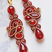 Украшения handmade. Livemaster - original item Discount Soutache earrings Scarlet .Red soutache earrings.. Handmade.