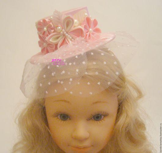 """Детская бижутерия ручной работы. Ярмарка Мастеров - ручная работа. Купить Мини - шляпка """"Бабочка розово-кремовая"""". Handmade."""