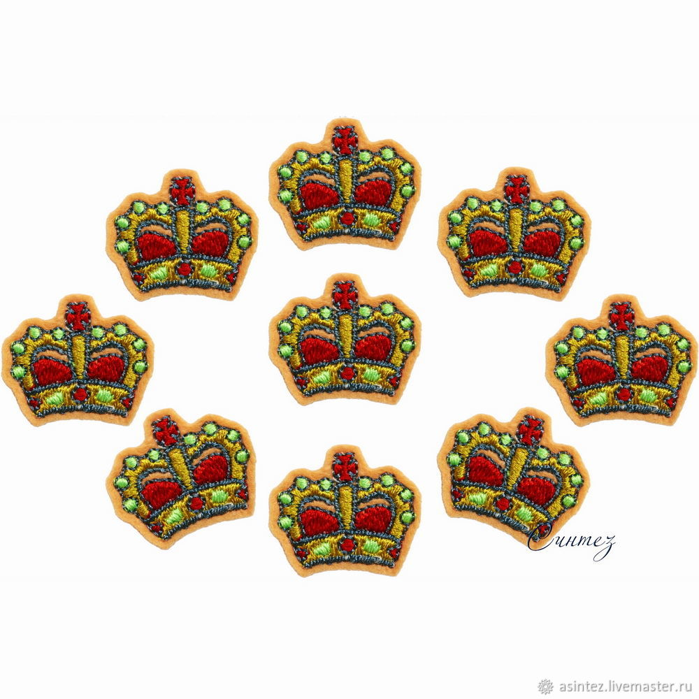 Patch embroidered Crown of the Russian Empire applique on felt, Applications, Moscow,  Фото №1
