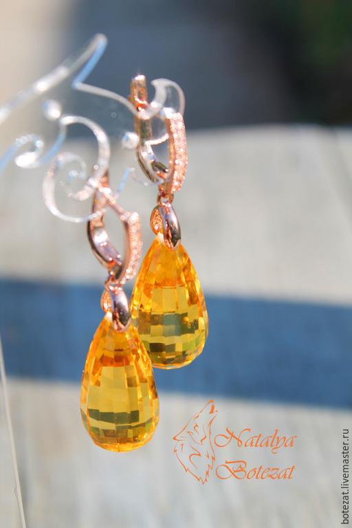 Серьги с крупными большими ювелирными камнями золотистыми желтыми цитринами на элитной фурнитуре розовой позолоты с фианитами английский замок. Подарок маме подруге женщине коллеге купить