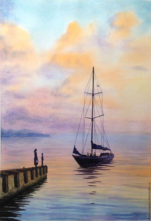 Пейзаж ручной работы. Ярмарка Мастеров - ручная работа. Купить Море, закат, яхта и причал - вечер в Сочи. Handmade. Сочи