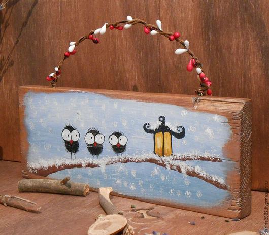 Декоративное панно для интерьера. Рисунок акриловыми красками на состаренной сосновой доске. Ручная работа.