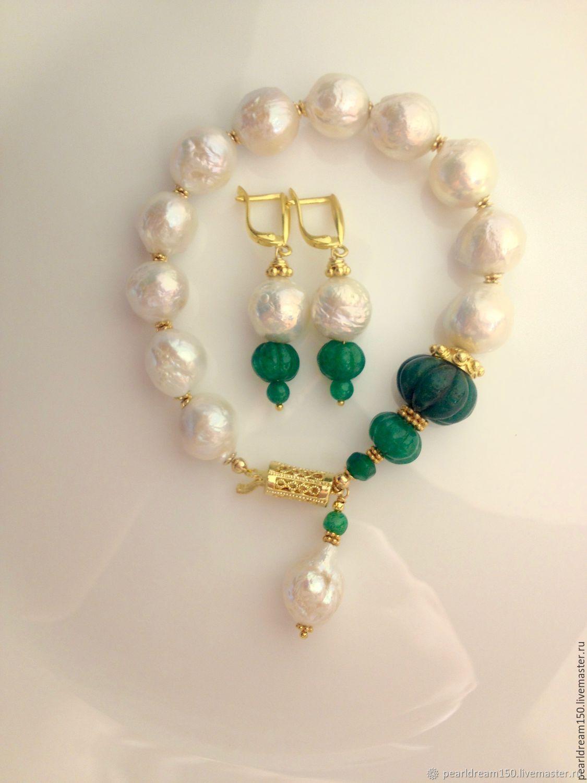 """""""Индийская принцесса"""" браслет, серьги, жемчуг, изумруды, серебро 925"""