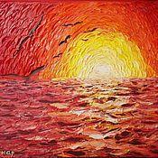 """Картины и панно handmade. Livemaster - original item Картина маслом закат на море """"И такой закат на море бывает!"""". Handmade."""