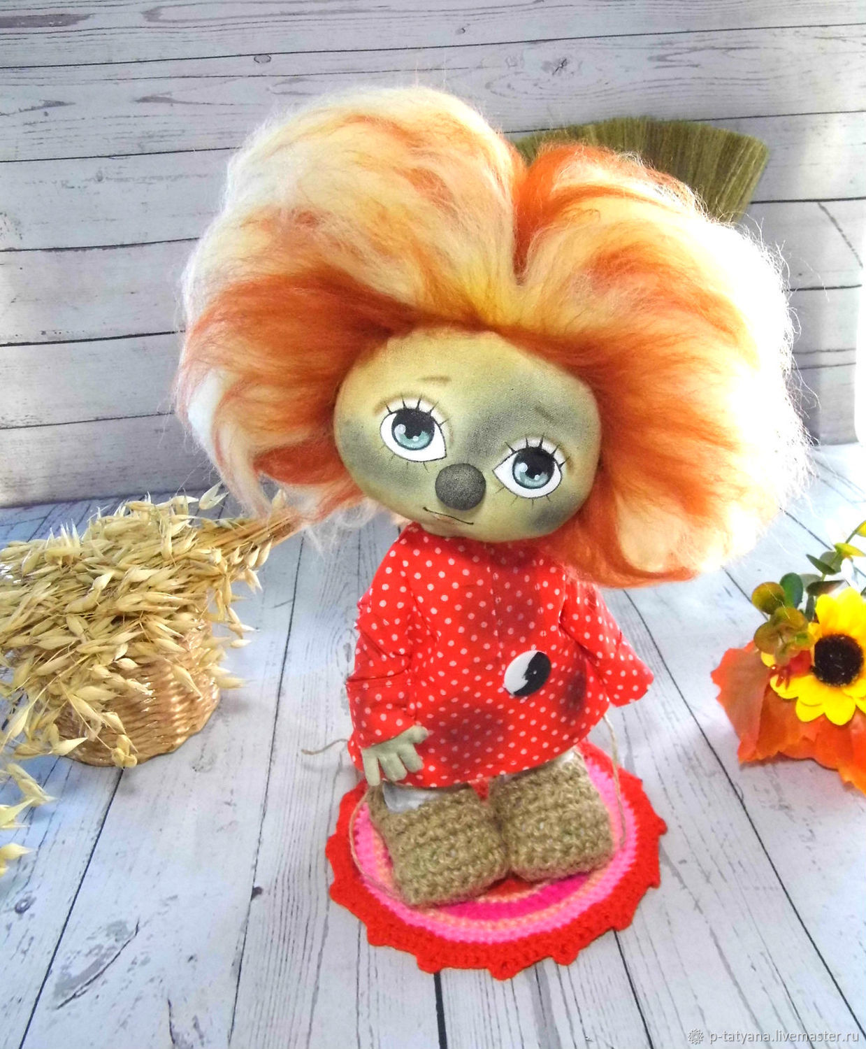 Domovenok Kuzya, grimy. Author's textile doll, interior, Stuffed Toys, Buoy,  Фото №1