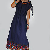 Одежда handmade. Livemaster - original item A linen dress in the ethnic style of