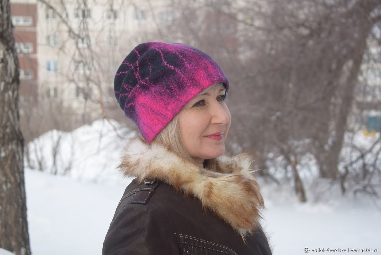 1a8043ad222 Hat felted feminine.Warm wool hat beanie – shop online on Livemaster ...