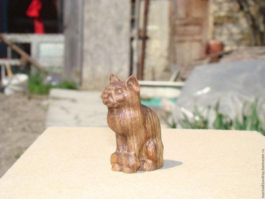 Игрушки животные, ручной работы. Ярмарка Мастеров - ручная работа. Купить Кошка. Handmade. Коричневый, фигурка из дерева, кошка