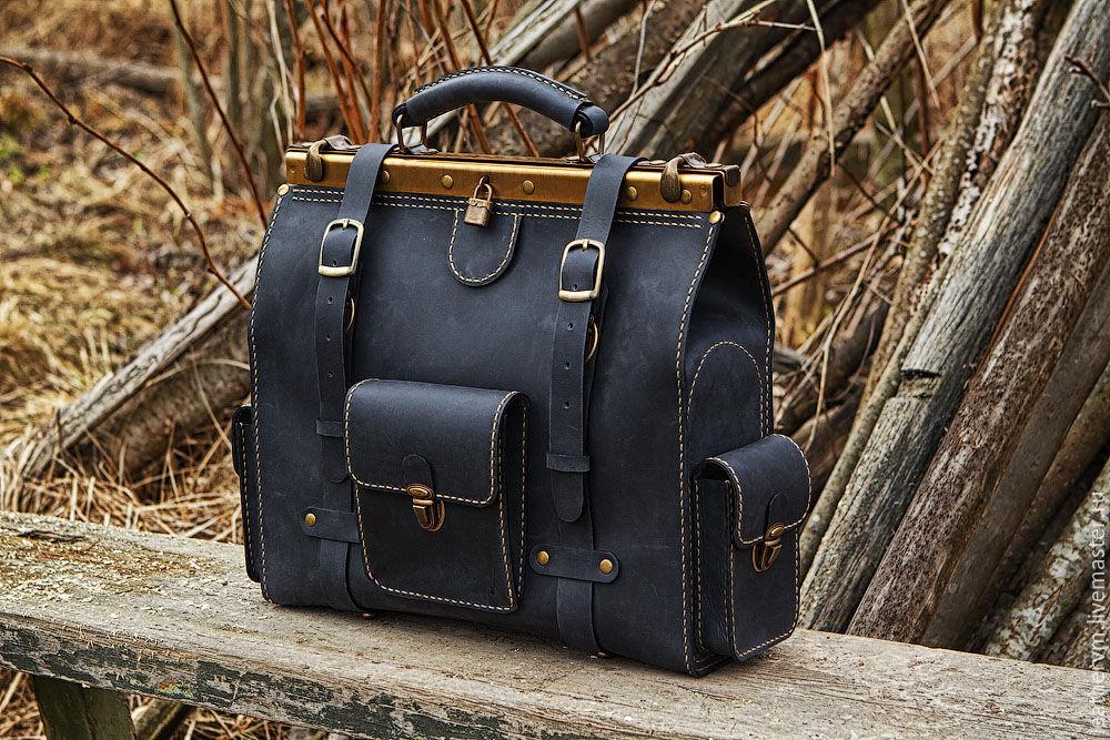 """""""Брокер"""" - портфель кожаный, чёрно-синий, ручной работы, Портфель, Санкт-Петербург,  Фото №1"""