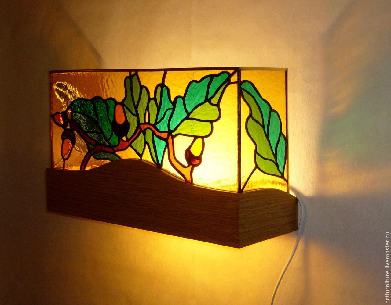 Витражное бра - настенный светильник Дуб, Бра, Санкт-Петербург, Фото №1
