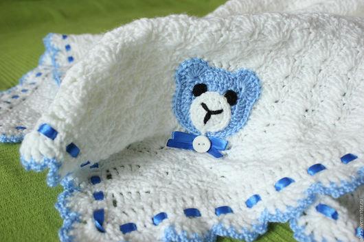 Пледы и одеяла ручной работы. Ярмарка Мастеров - ручная работа. Купить Детский плед с  мишками. Handmade. Белый, синяя лента