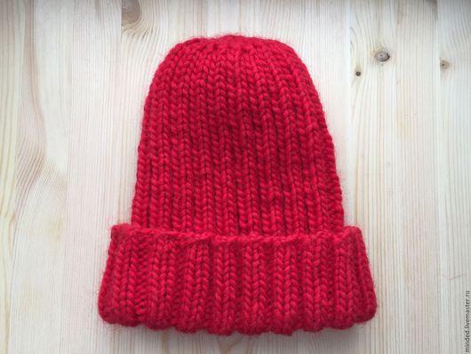 Шапки ручной работы. Ярмарка Мастеров - ручная работа. Купить Красная шапка. Handmade. Ярко-красный, шапка-бини