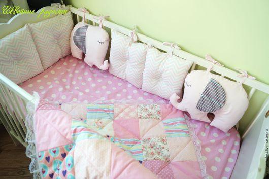 Для новорожденных, ручной работы. Ярмарка Мастеров - ручная работа. Купить комплект в кроватку. Handmade. Розовый, комплект в кроватку