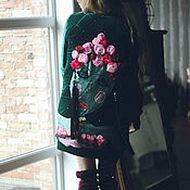 Одежда ручной работы. Ярмарка Мастеров - ручная работа Удлиненный бомбер, пальто бархатное. Handmade.