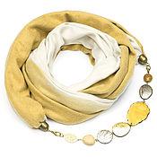 Аксессуары ручной работы. Ярмарка Мастеров - ручная работа Кашемировый шарф-ожерелье (бело-желтый). Handmade.