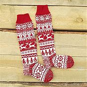 Аксессуары handmade. Livemaster - original item Knee: Christmas socks with reindeer. Christmas. Handmade.